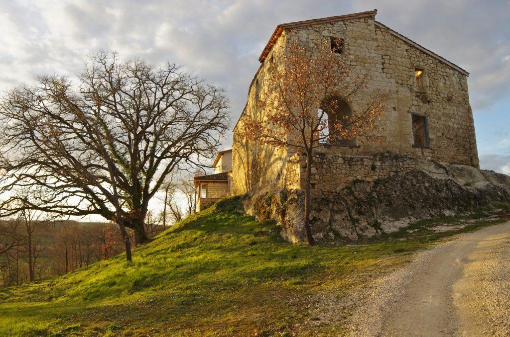 mur du château du Domaine de Saussignac, arbres en automne