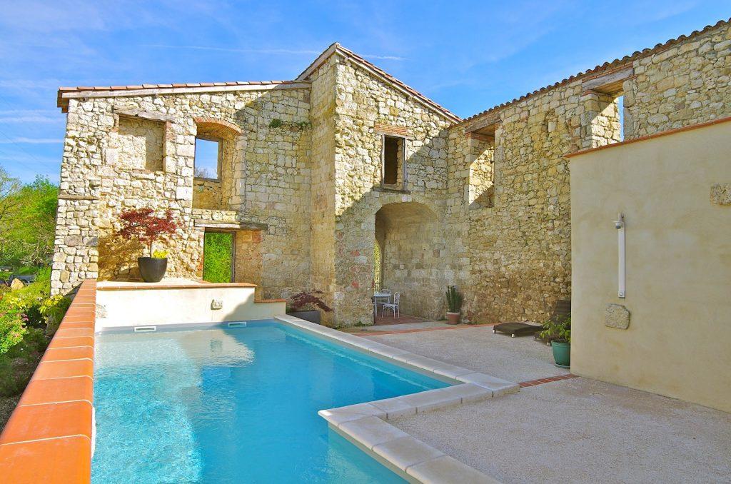 piscine chauffée, château, domaine de saussignac