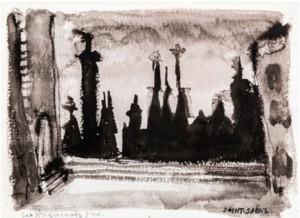 Les Huguenots Projet pour le Théâtre du Capitole, 1974  Aquarelle sur papier